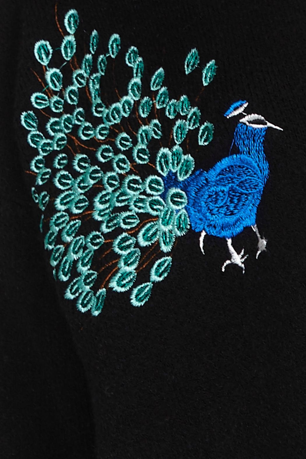 Yumi Peacock Embroidered Cardigan - Front Full Image