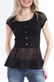 Yvonne Marie Black Lace Peplum Top - Product Mini Image