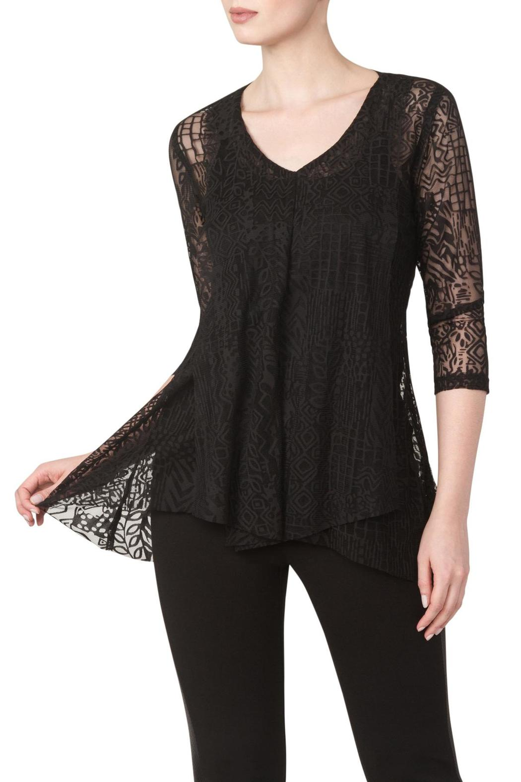 Black Tunic Top. Update a closet with some ladies tunic tops. The classy tunic style is an easy way to add sophistication to any outfit. Pick from long-sleeve tops for cooler fall and winter days or some three-quarter sleeve tunics for those warm summer days. Choose from solid colors or for those who like to add contrast to their outfit, pick some in fun patterns to get a cool, casual look.