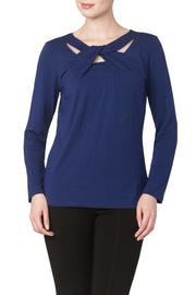 Yvonne Marie Blue Cut Out Top - Product Mini Image
