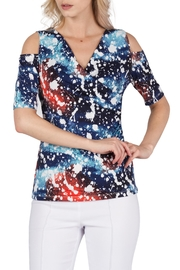 Yvonne Marie Blue Print Top - Product Mini Image