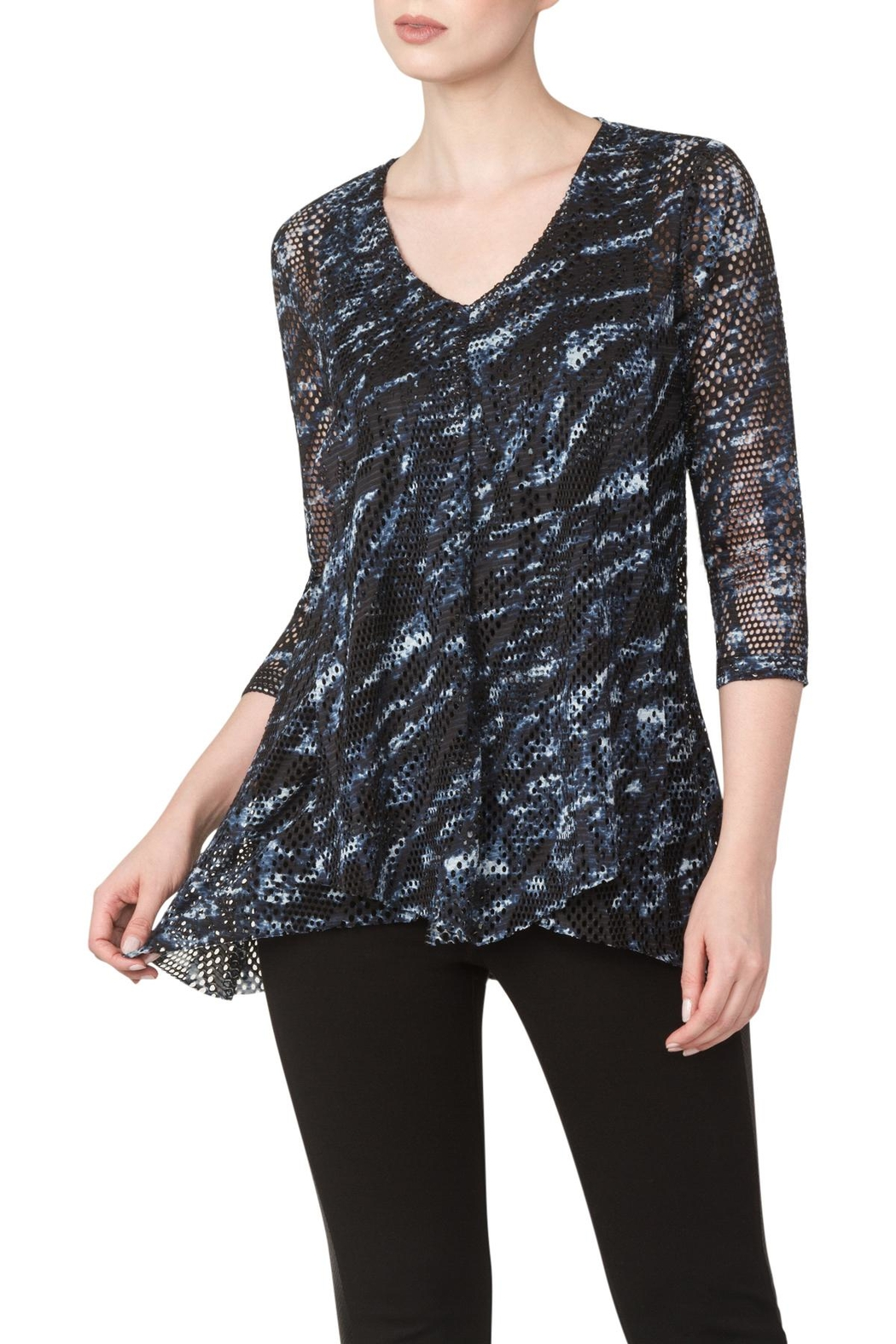 Yvonne Marie Denim Mesh Draped Top - Front Cropped Image