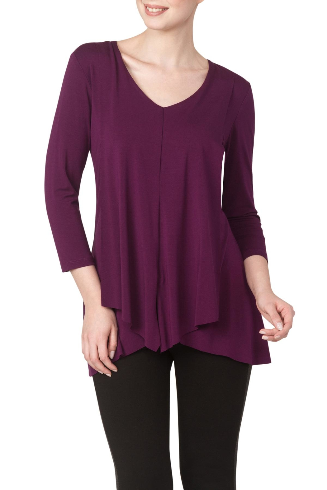 Yvonne Marie Plum Flyaway Top - Front Cropped Image