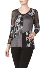 Yvonne Marie Printed Top With Mesh - Product Mini Image