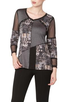 Shoptiques Product: Taupe Top With Mesh