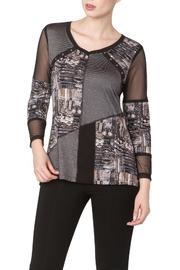 Yvonne Marie Taupe Top With Mesh - Product Mini Image