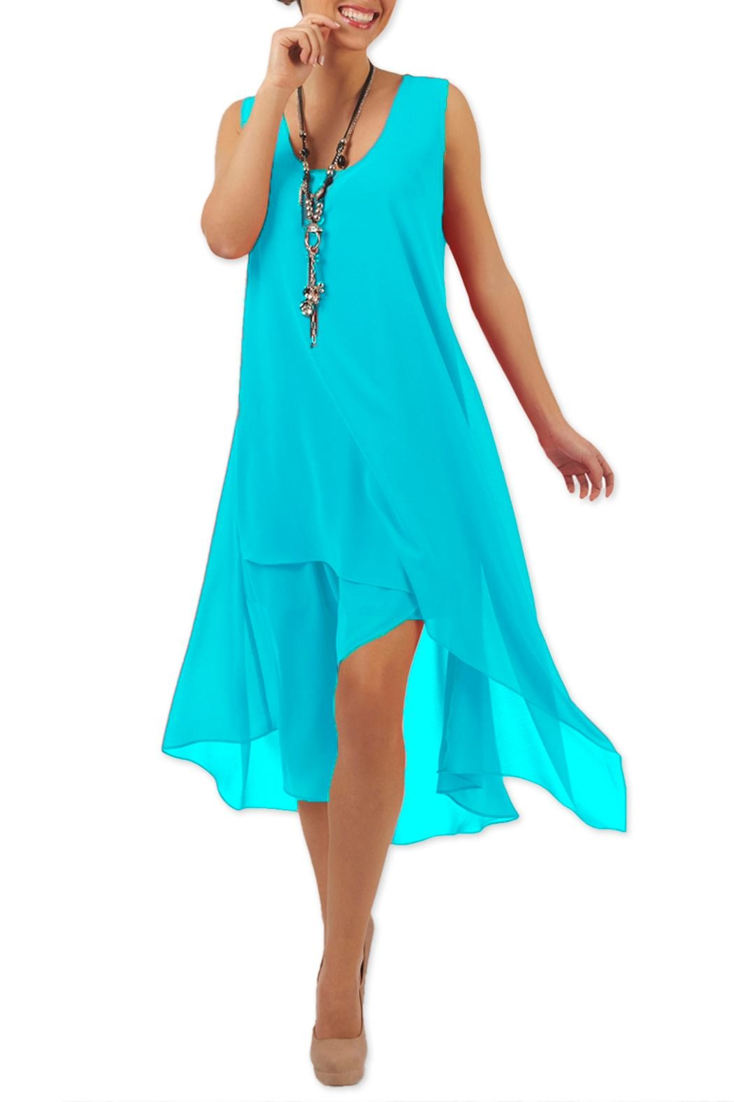 Yvonne Marie Turquoise Chiffon Dress - Front Cropped Image