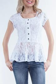 Yvonne Marie White-Lace Peplum Top - Product Mini Image