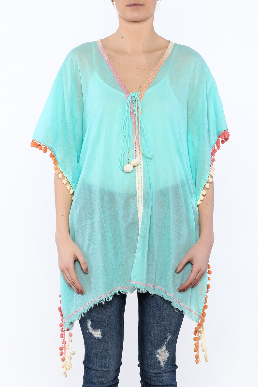 Z&L Europe Floral Pompom Tunic Top - Side Cropped Image