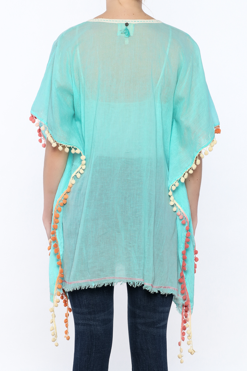 Z&L Europe Floral Pompom Tunic Top - Back Cropped Image