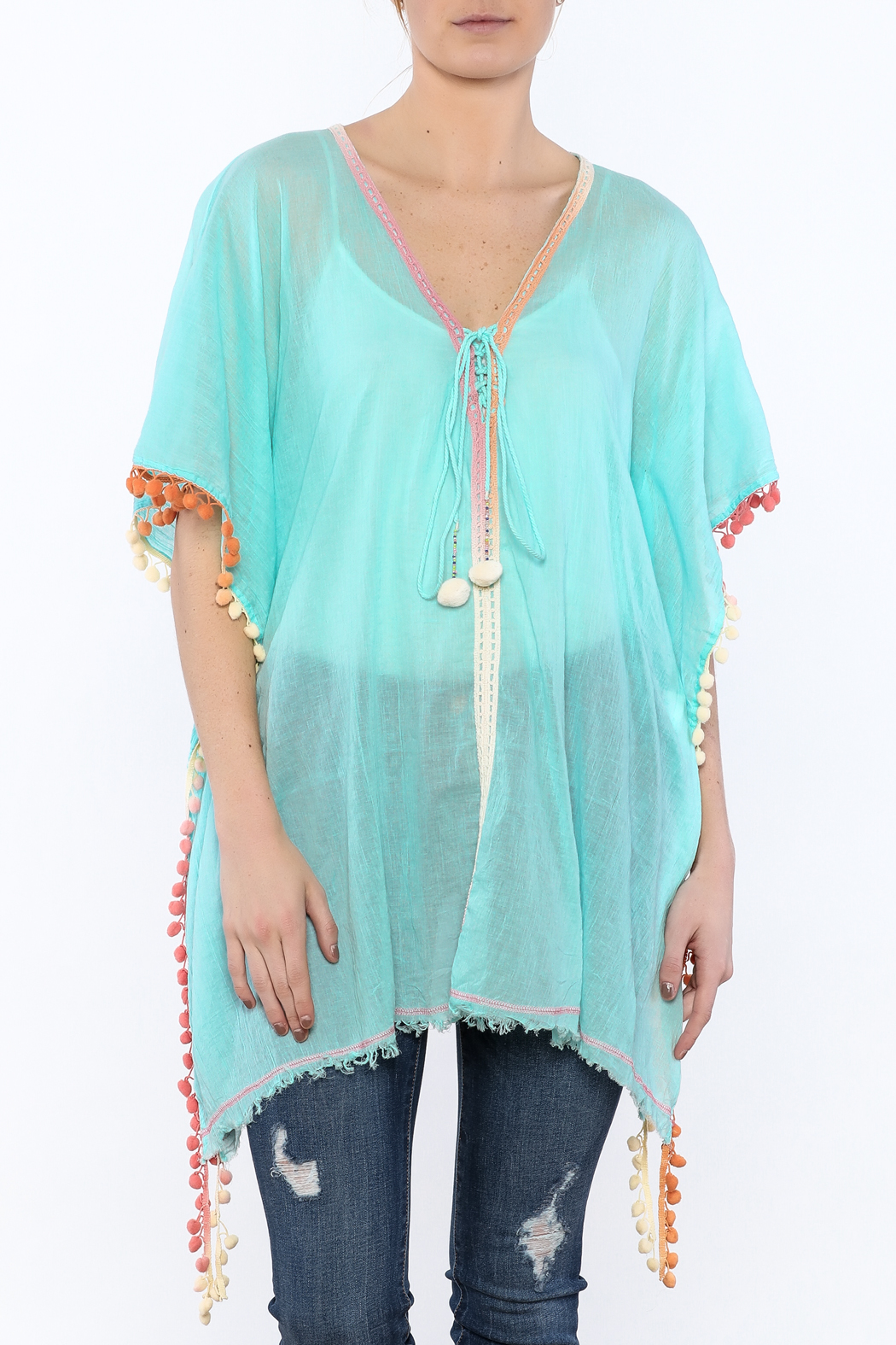 Z&L Europe Floral Pompom Tunic Top - Main Image