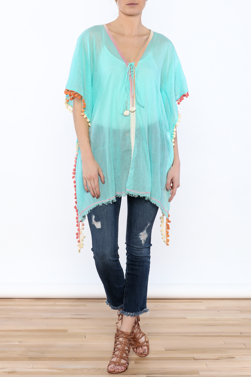 Z&L Europe Floral Pompom Tunic Top - Front Full Image