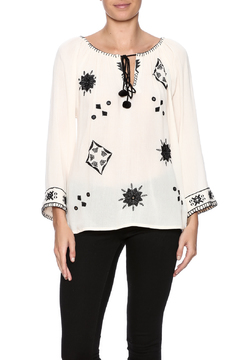 Shoptiques Product: Ivory Black Embroidery Blouse