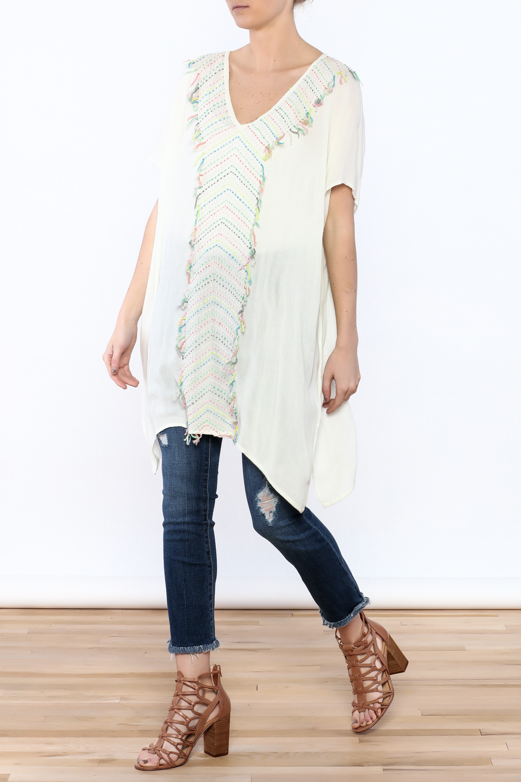 Z&L Europe Ombre Pompom Tunic Top - Front Full Image