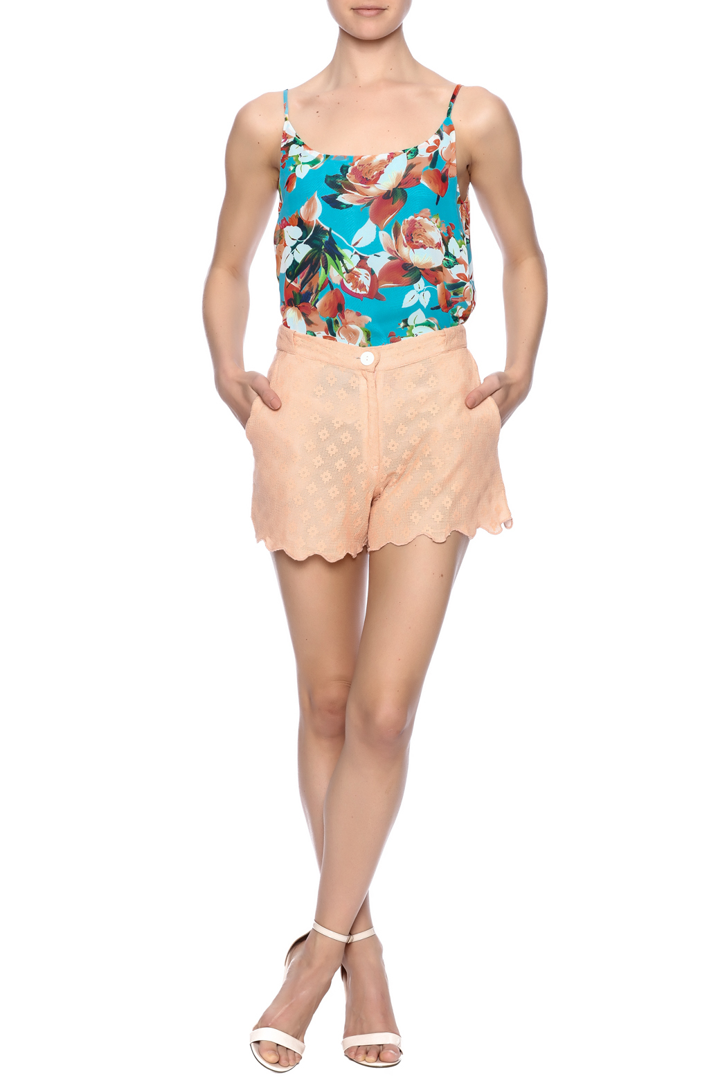Z&L Europe Peach Lace Shorts - Front Full Image