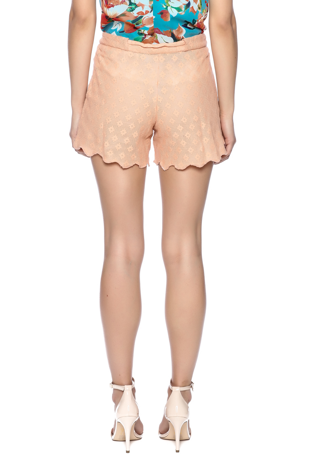 Z&L Europe Peach Lace Shorts - Back Cropped Image