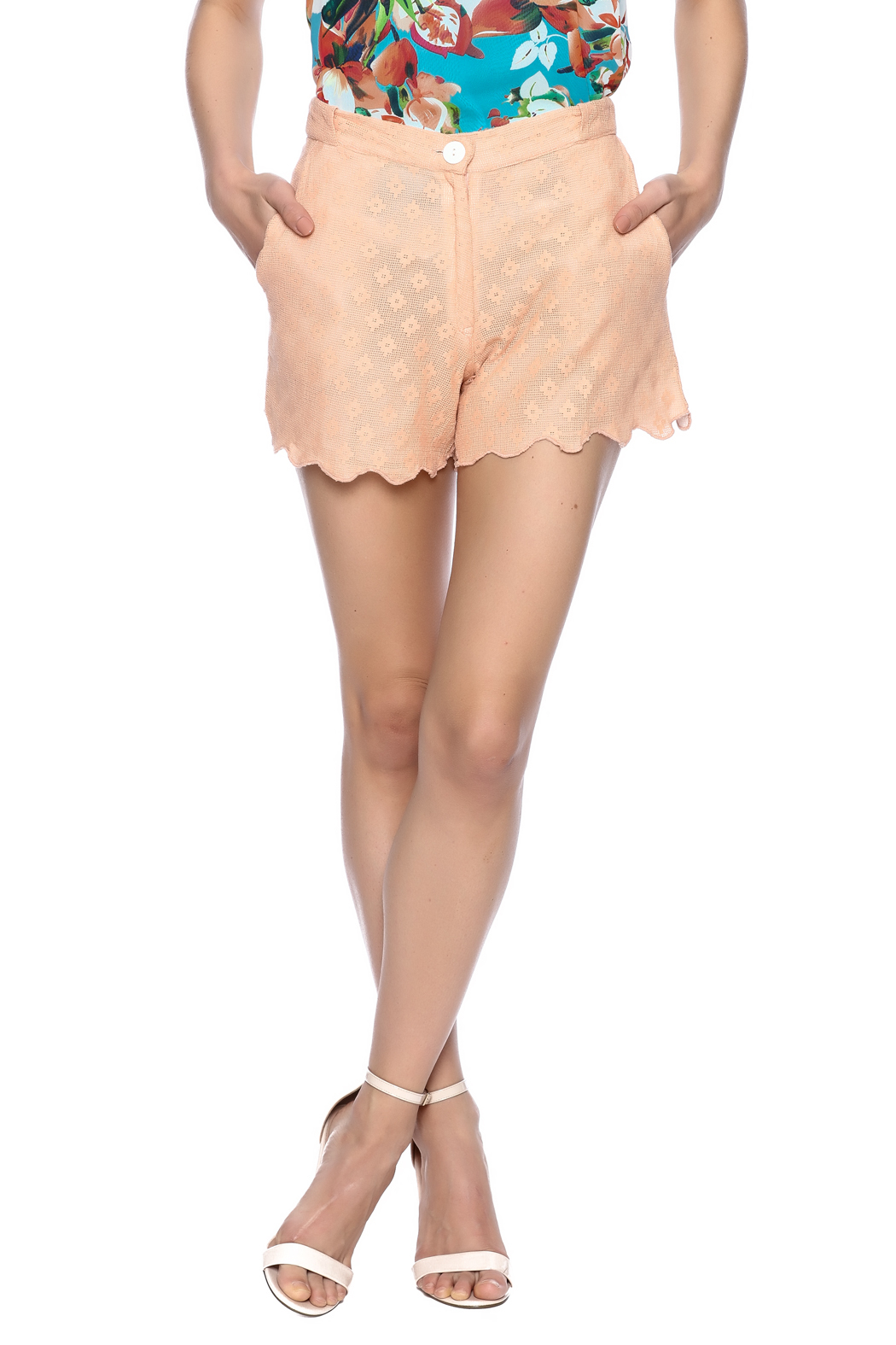 Z&L Europe Peach Lace Shorts - Main Image