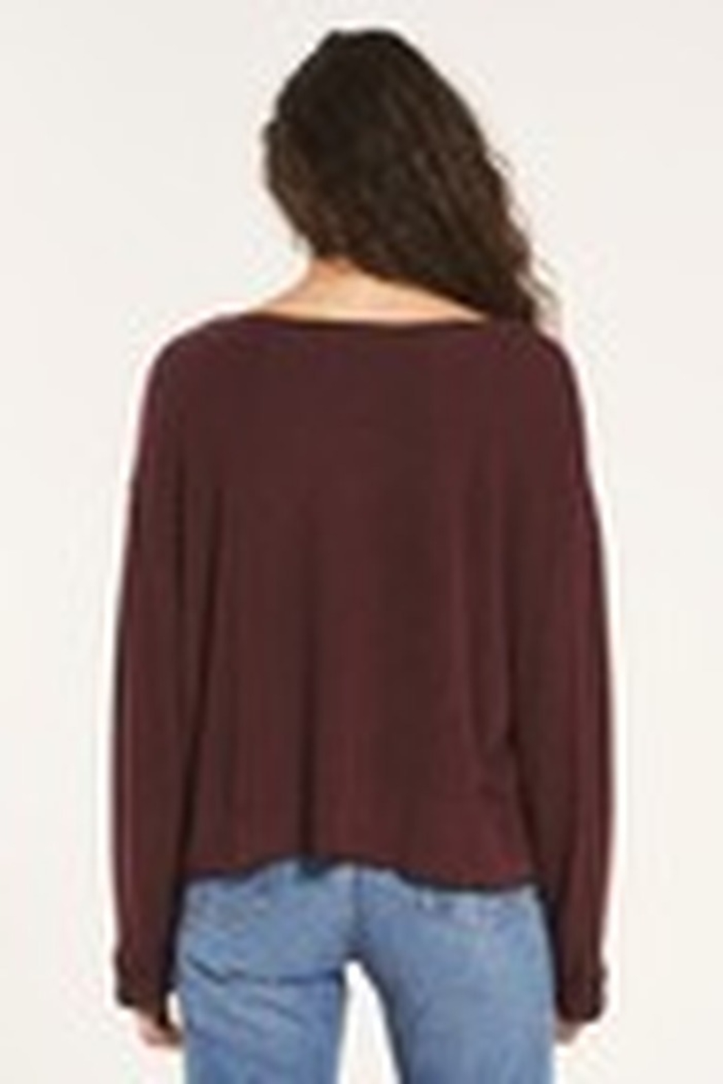 Z Supply  Alpine Marled Pullover Merlot - Side Cropped Image