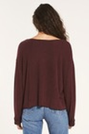 Z Supply  Alpine Marled Pullover Merlot - Side cropped
