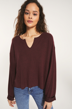 z supply Z Supply Alpine Marled Pullover Merlot - Product List Image