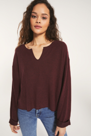 z supply Z Supply Alpine Marled Pullover Merlot - Product Mini Image