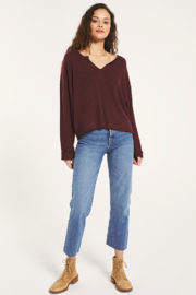 Z Supply  Alpine Marled Pullover Merlot - Front full body
