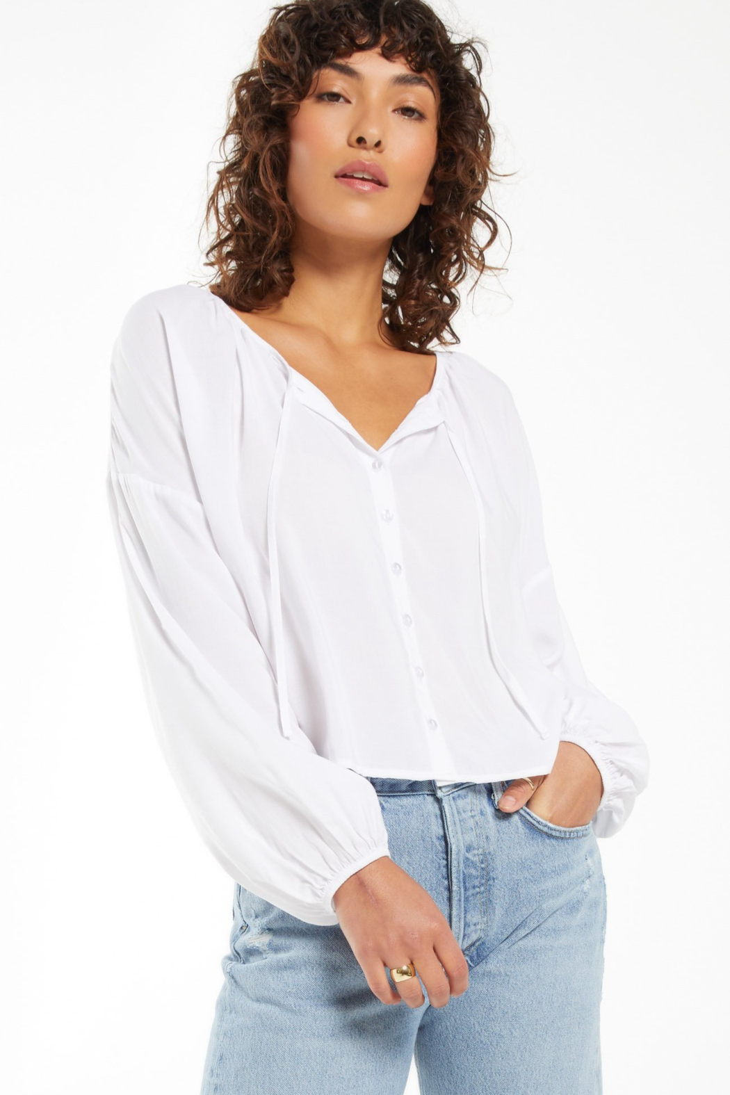 z supply Z Supply Coral Isle Top - White - Front Full Image