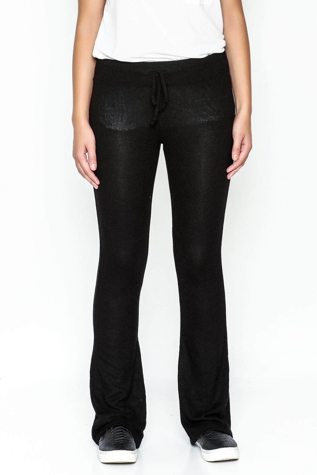 z supply Sheer Black Bootcut Pants - Front Full Image