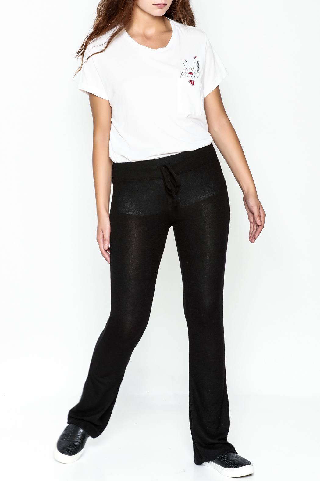 z supply Sheer Black Bootcut Pants - Side Cropped Image