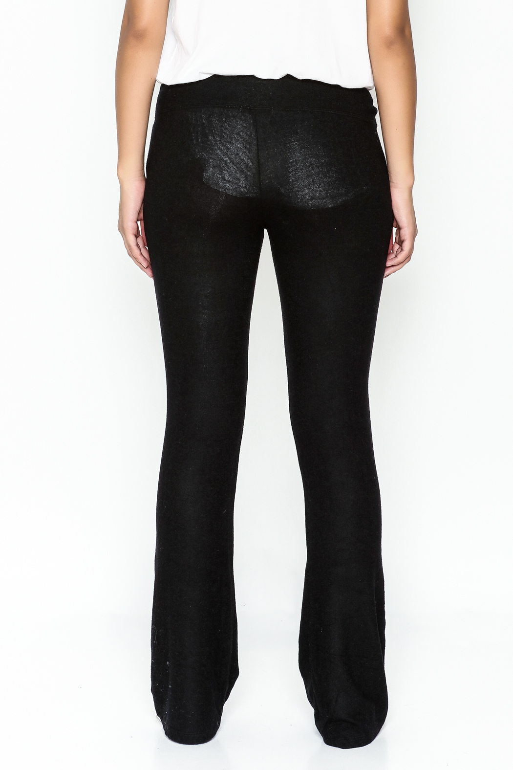 z supply Sheer Black Bootcut Pants - Back Cropped Image