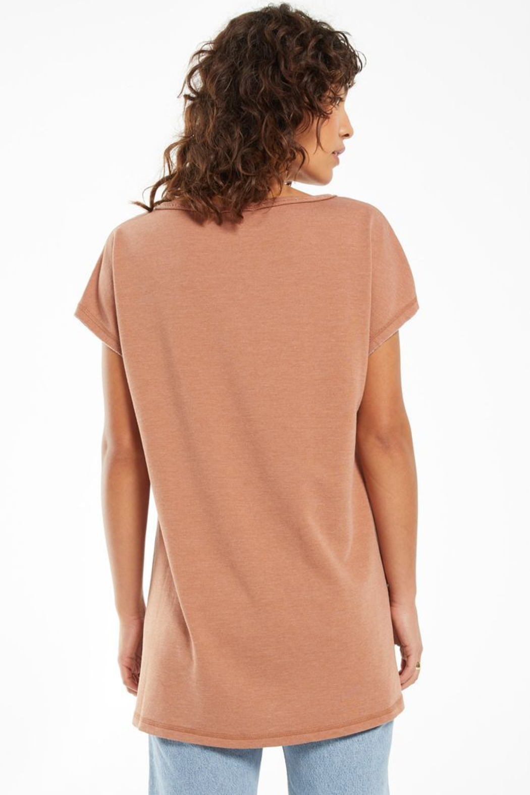 z supply Z Supply Frankie Tunic Tee - Vintage Brown - Front Full Image