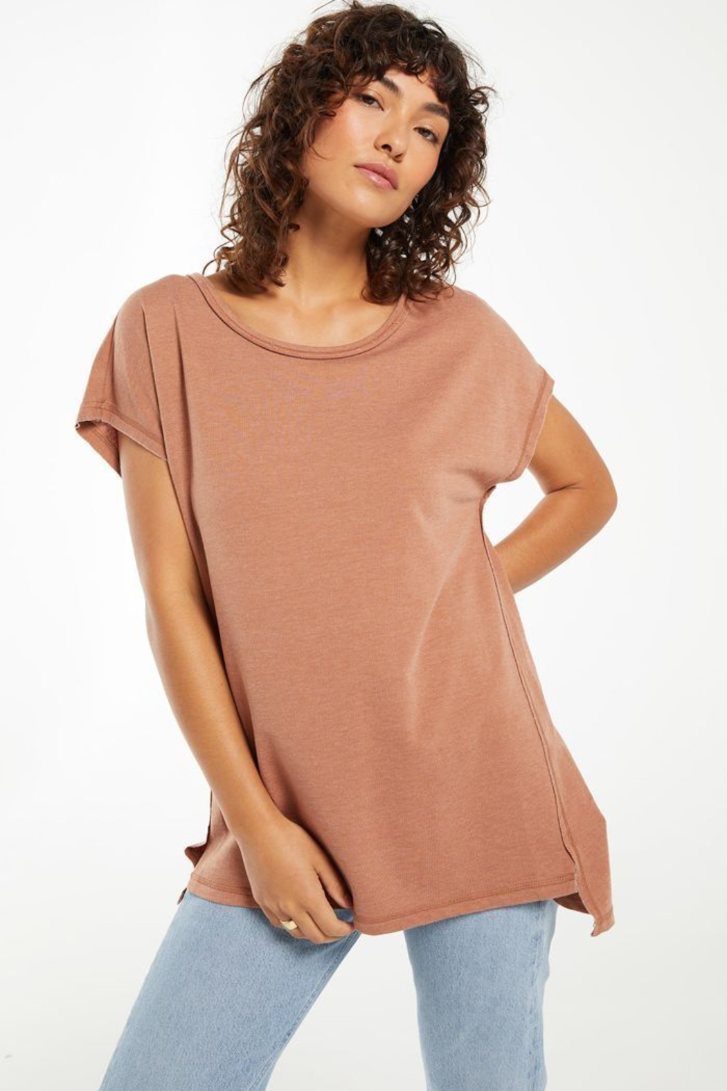 z supply Z Supply Frankie Tunic Tee - Vintage Brown - Main Image