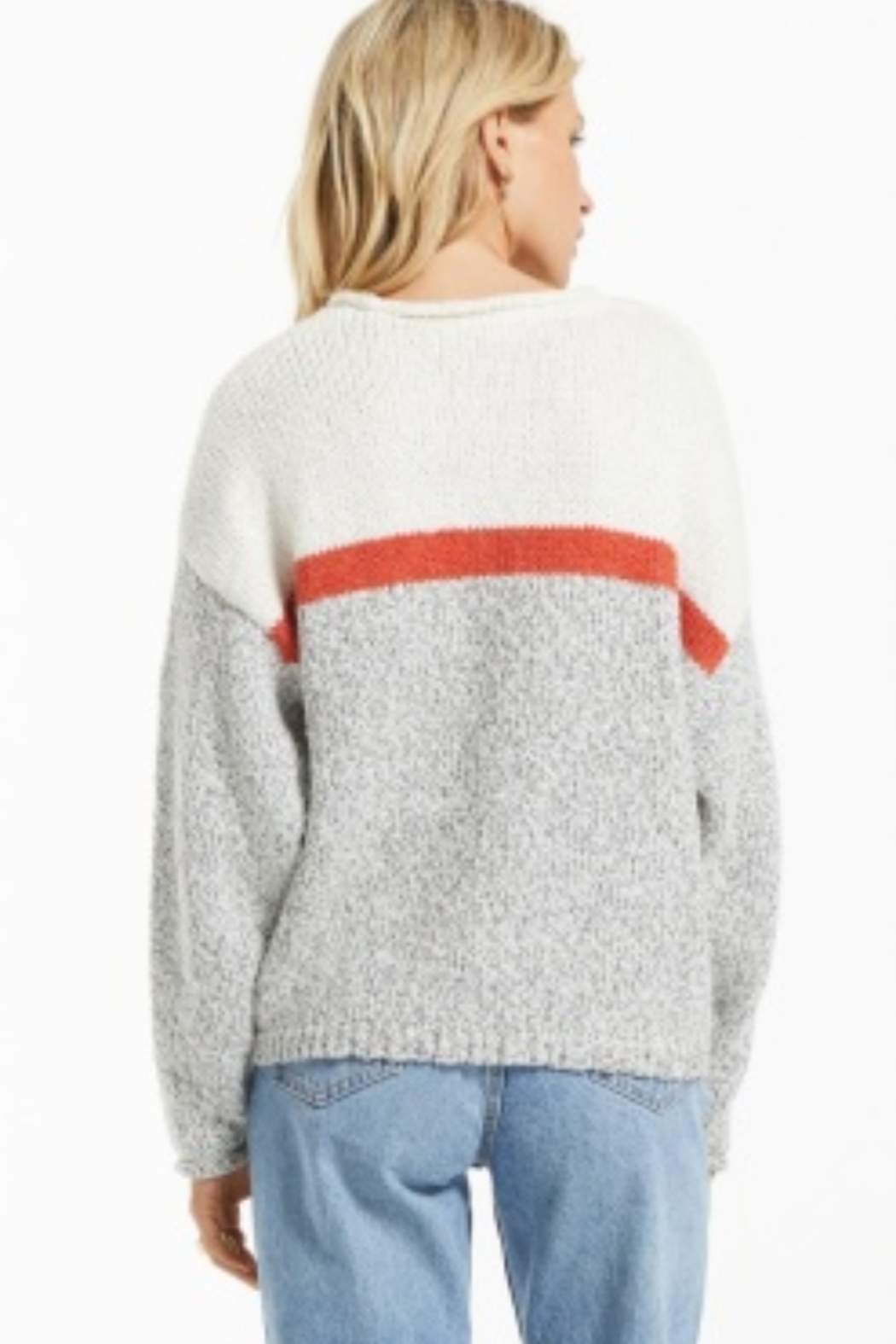 z supply  Z Supply Kennedy Color Block Sweater-Pebble - Front Full Image