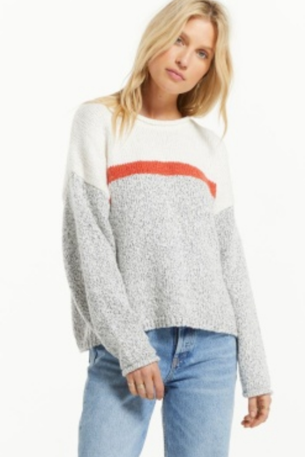 z supply  Z Supply Kennedy Color Block Sweater-Pebble - Front Cropped Image