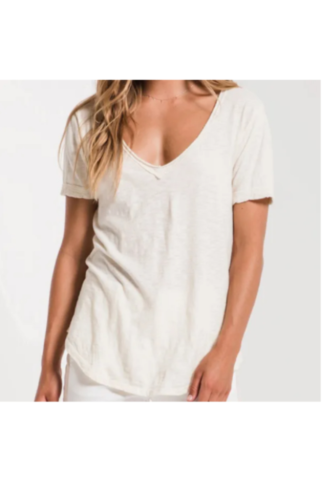 z supply Z Supply The Cotton Slub V-Neck Tee - Natural - Main Image