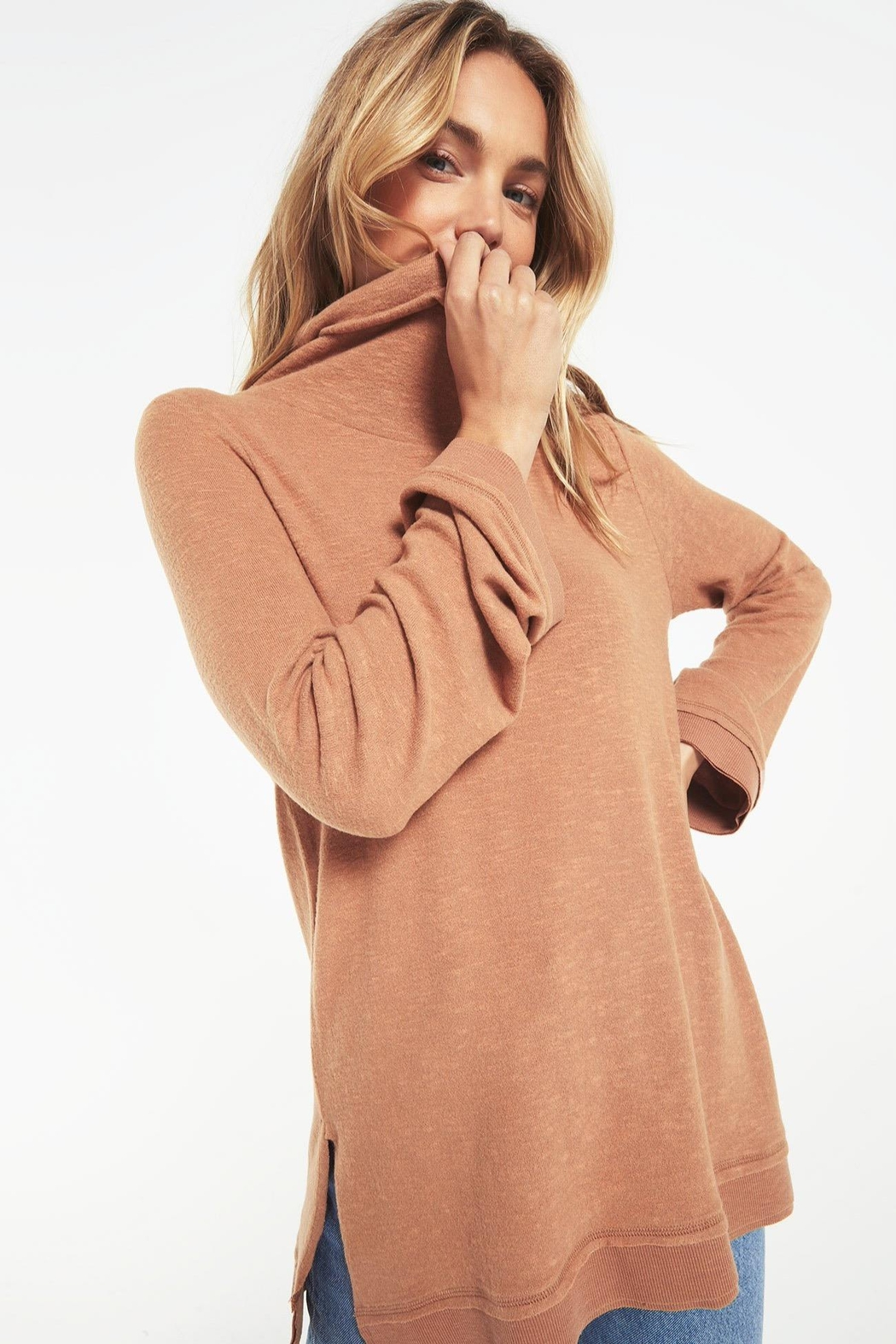z supply Ali Cowl Sweater - Front Full Image