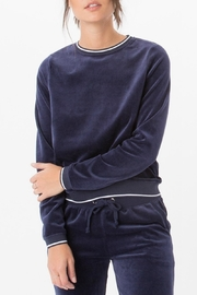 z supply Blue Velour Crew Sweatshirt - Product Mini Image