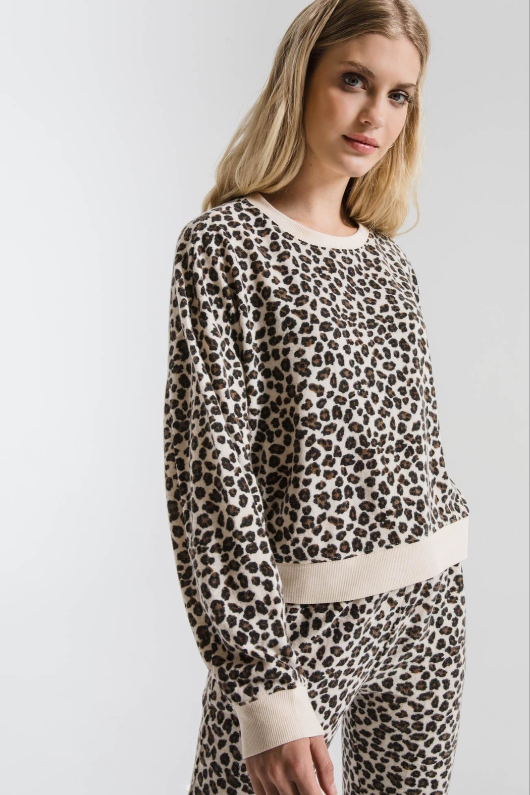 z supply Brushed Leopard Pullover - Side Cropped Image