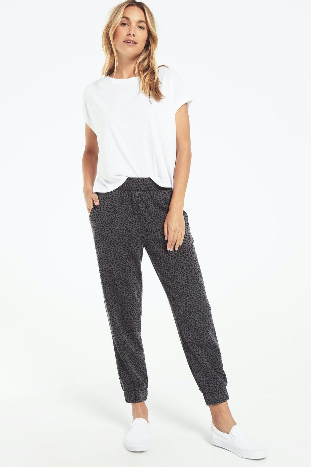 z supply Cadence Stardust Jogger-Charcoal - Side Cropped Image