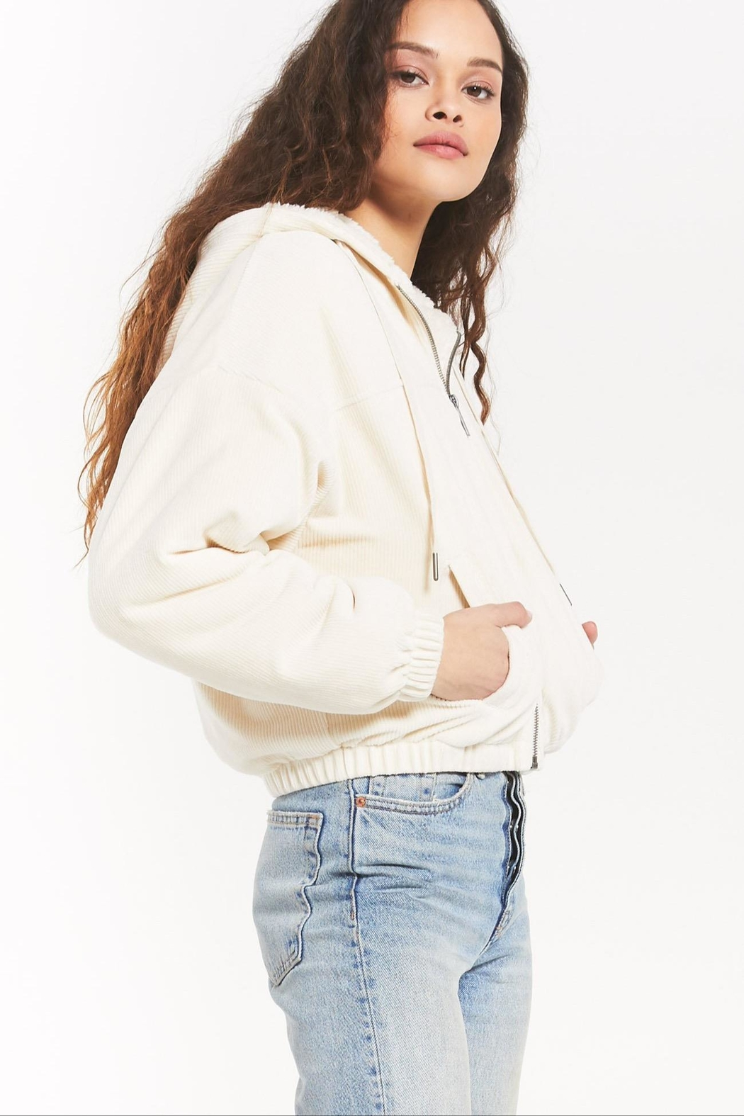 z supply Camille Cord Bomber - Back Cropped Image