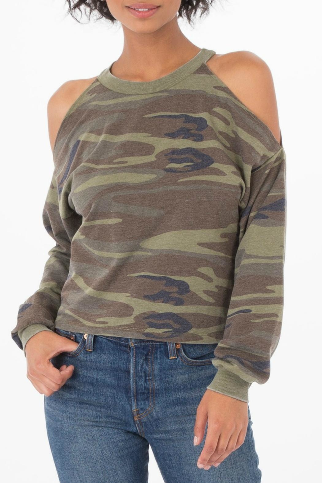 z supply Camo Cold Shoulder Top - Main Image
