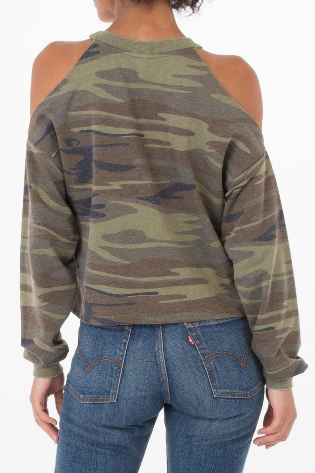 z supply Camo Cold Shoulder Top - Front Full Image
