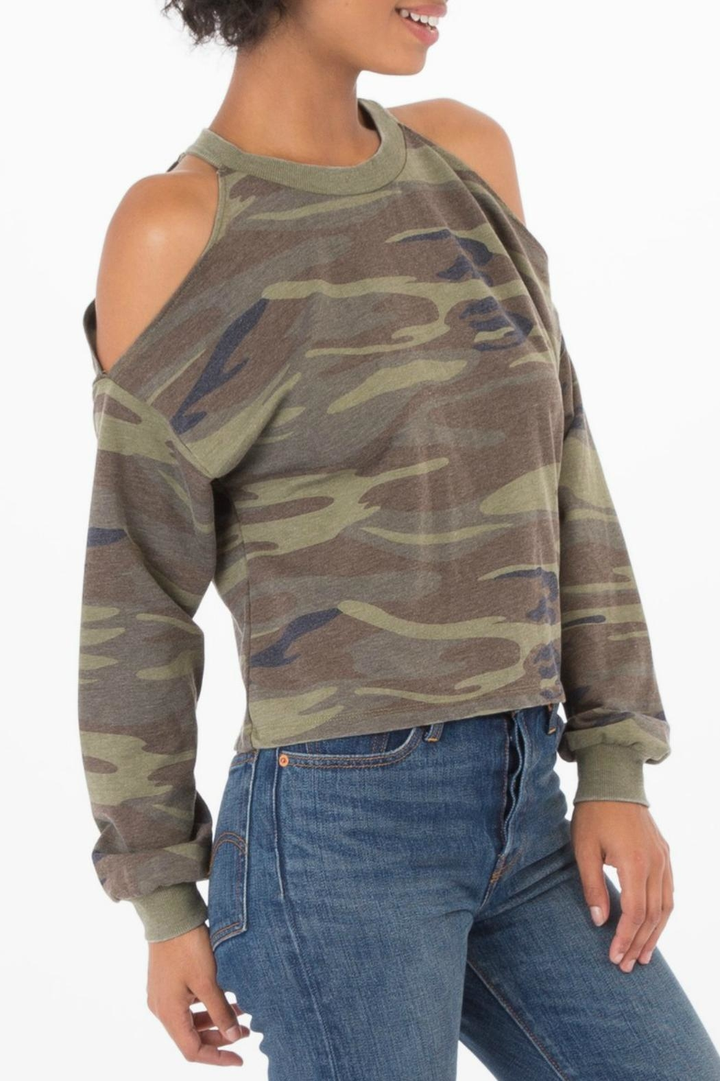 z supply Camo Cold Shoulder Top - Side Cropped Image