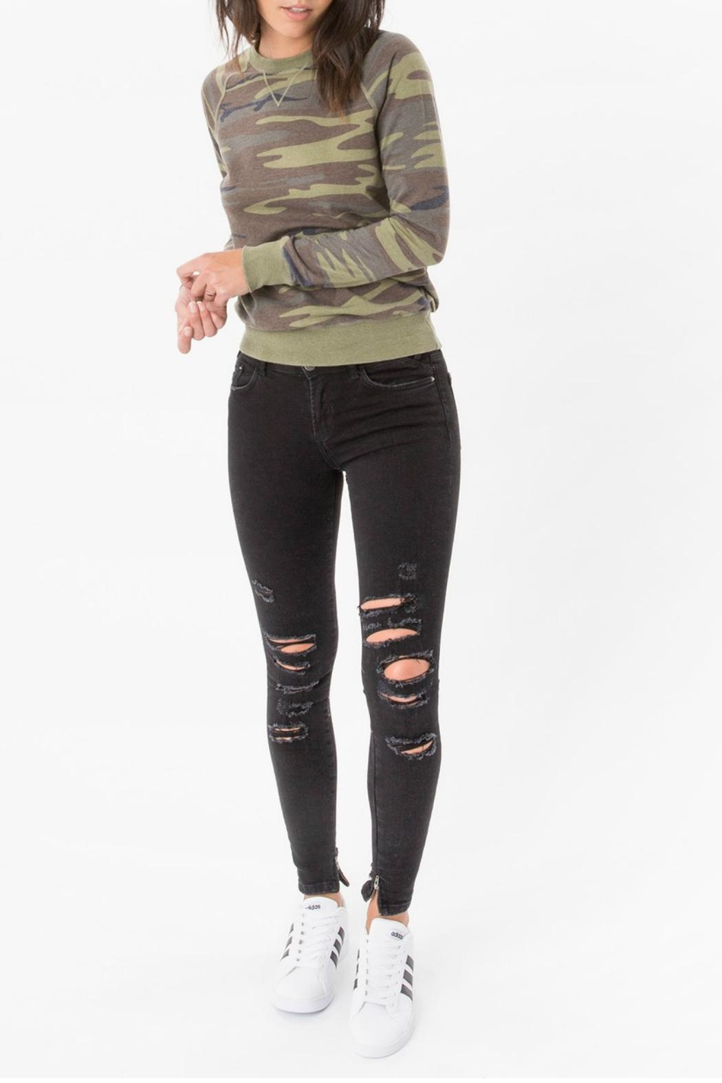 z supply Camo Crew Pullover Top - Back Cropped Image