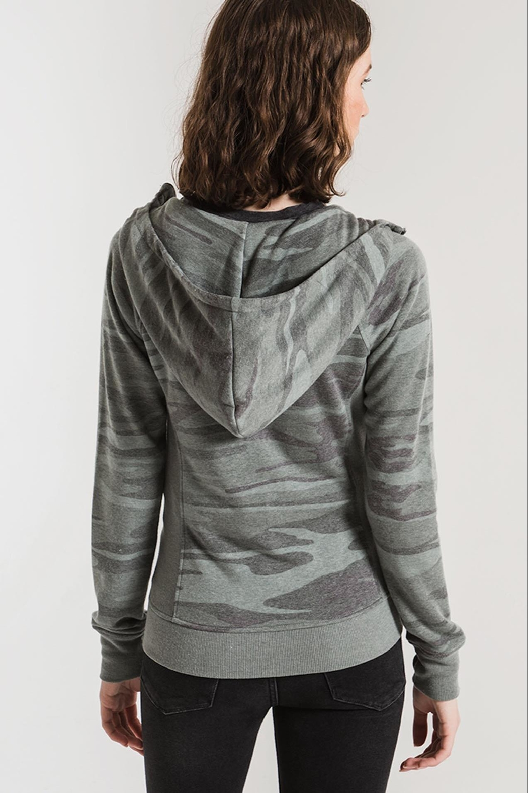 z supply Camo Zip Hoodie - Back Cropped Image