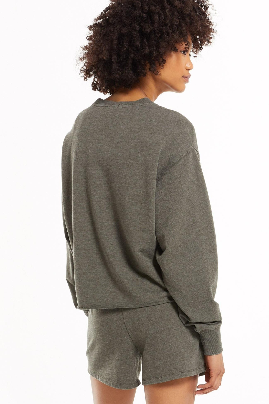 z supply Claire Boxy Sweatshirt - Seaweed - Front Full Image