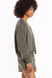 z supply Claire Boxy Sweatshirt - Seaweed - Front cropped