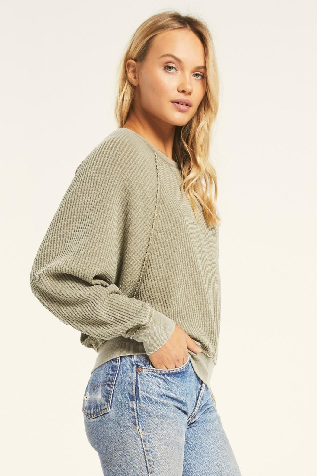 Z Supply  Claire Waffle Long Sleeve - Front Full Image