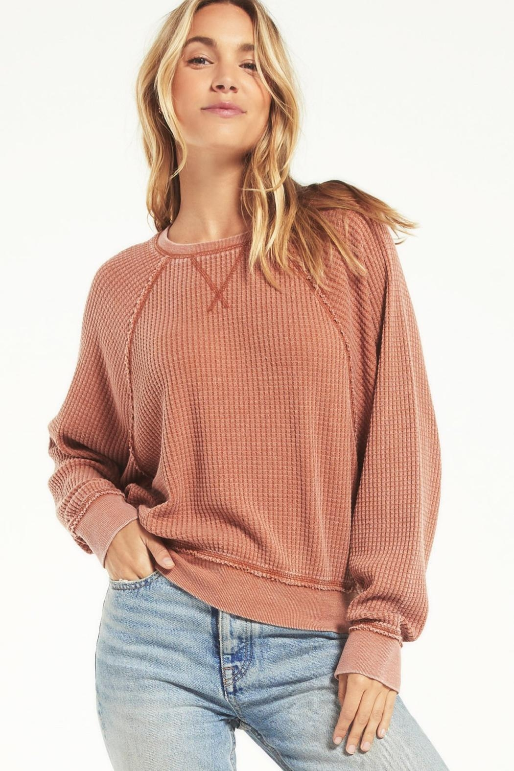 z supply Claire Waffle Longsleeve - Front Full Image