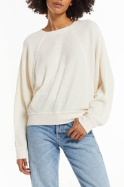 z supply Claire Waffle Pullover - Front full body
